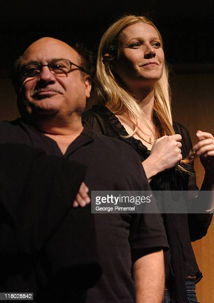 Danny DeVito and Gwyneth Paltrow during 2007 Sundance Film Festival 'The Good Night' Premiere QA at Eccles Theatre in Park City Utah United States