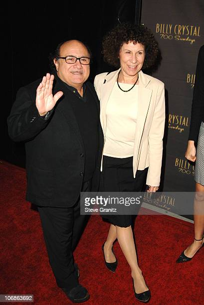 """Danny DeVito and Rhea Perlman during Los Angeles Opening Night of The Tony Award Winning Broadway Show Billy Crystal """"700 Sundays"""" at Wilshire..."""