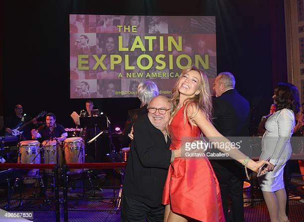 Danny Devito and Thalia attends the 'The Latin Explosion A New America' Premiere Screening on November 10 2015 in New York City