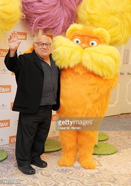 Danny DeVito and The Lorax pose as part of a UK photocall to celebrate the huge success of his new film 'The Lorax' on March 12 2012 in London United...