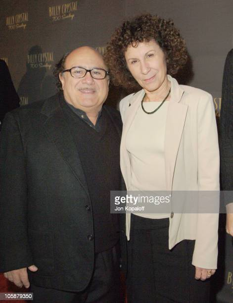 """Danny DeVito and wife Rhea Perlman during Billy Crystal's """"700 Sundays"""" Los Angeles Opening Night - Arrivals at Wilshire Theatre in Beverly Hills,..."""