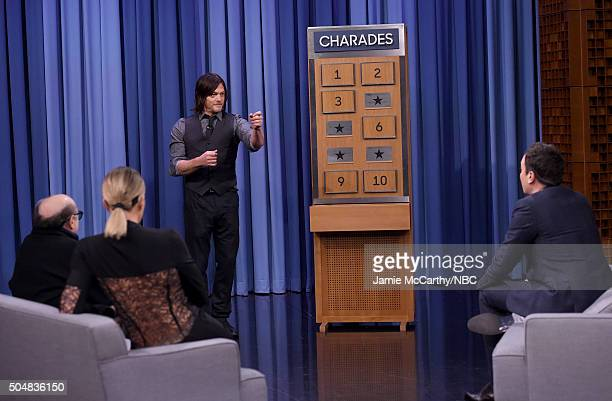 Danny Devito Khloe Kardashian Norman Reedus and Jimmy Fallon play charades during a segment on 'The Tonight Show Starring Jimmy Fallon'at Rockefeller...