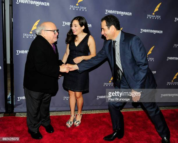 Danny DeVito Lucy DeVito and Tony Shalhoub attend 2017 Drama Desk Awards Arrivals at Anita's Way on June 4 2017 in New York City