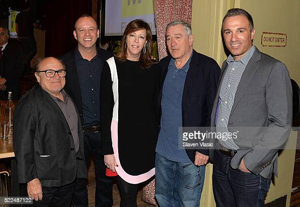 Danny DeVito Robert De Niro Jane Rosenthal and guests attend Directors Brunch at 2016 Tribeca Film Festival at City Winery on April 19 2016 in New...