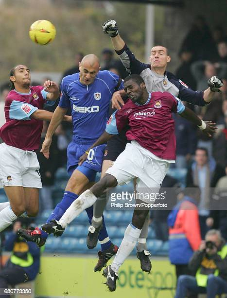 Danny Dichio of Millwall, Anton Ferdinand , Darren Powell and Goalkeeper Stephen Bywater of West Ham in action during the Coca Cola League...