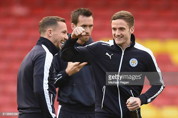 Danny Drinkwater and Andy King of Leicester City are seen prior to the Barclays Premier League match between Watford and Leicester City at Vicarage...