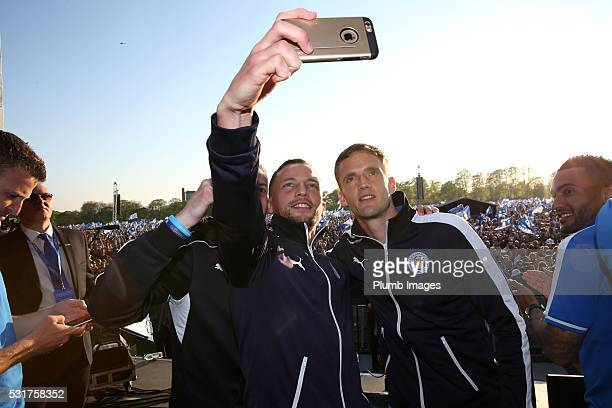 Danny Drinkwater and Andy King of Leicester City during the Leicester City Barclays Premier League Winners Bus Parade in Leicester City on May 16th...
