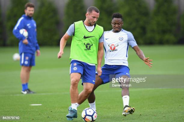 Danny Drinkwater and Baba Rahman of Chelsea during a training session at Chelsea Training Ground on September 4 2017 in Cobham England