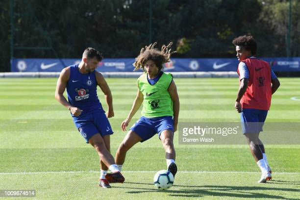 Danny Drinkwater and Ethan Ampadu of Chelsea compete for the ball during a training session at Chelsea Training Ground on August 2 2018 in Cobham...