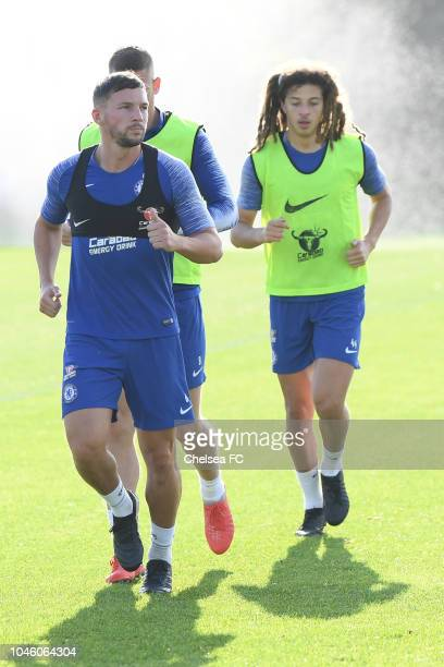 Danny Drinkwater and Ethan Ampadu of Chelsea during a training session at Chelsea Training Ground on October 5 2018 in Cobham England