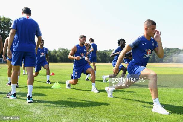 Danny Drinkwater and Ross Barkley of Chelsea during a training session at Chelsea Training Ground on July 7 2018 in Cobham England