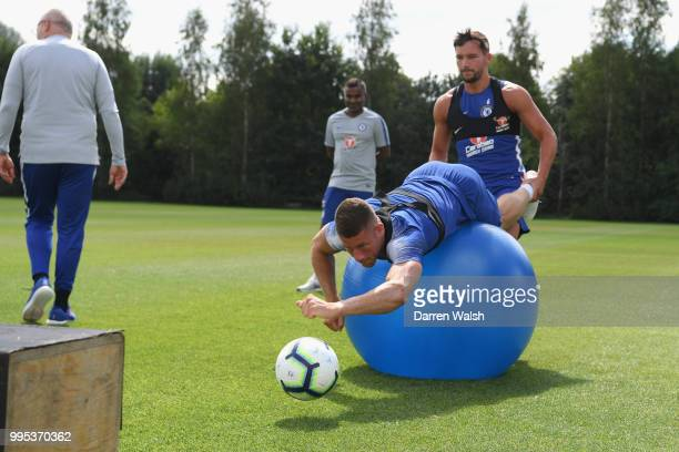 Danny Drinkwater and Ross Barkley of Chelsea during a training session at Chelsea Training Ground on July 10 2018 in Cobham England