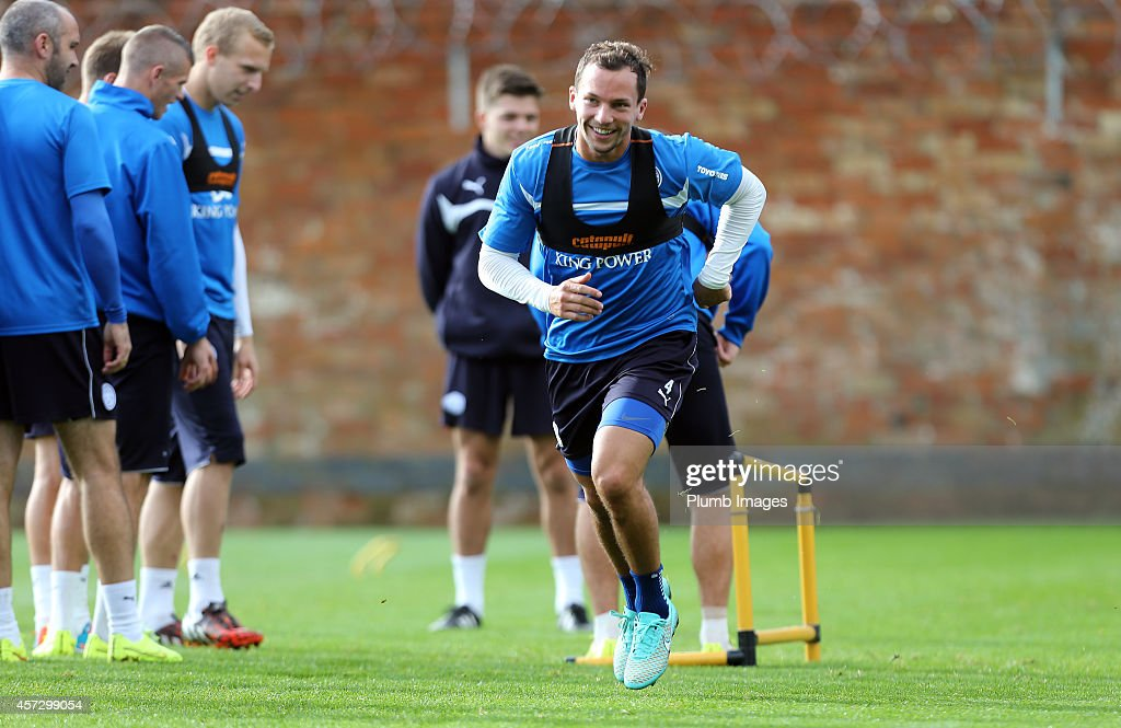 Danny Drinkwater during the Leicester City training session at Belvoir Drive Training Ground on October 16, 2014 in Leicester, England.