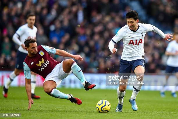 Danny Drinkwater of Aston Villa and Son Heungmin of Tottenham Hotspur during the Premier League match between Aston Villa and Tottenham Hotspur at...