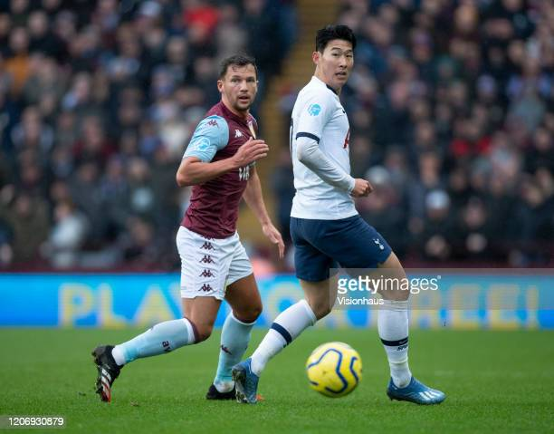 Danny Drinkwater of Aston Villa and Son HeungMin of Tottenham Hotspur in action during the Premier League match between Aston Villa and Tottenham...