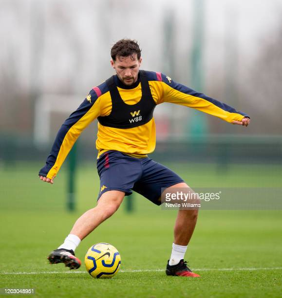 Danny Drinkwater of Aston Villa in action during a training session at Bodymoor Heath training ground on January 30 2020 in Birmingham England