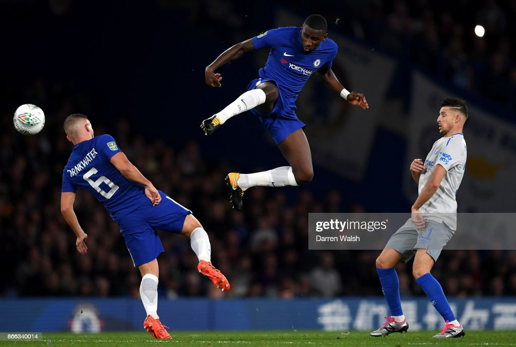 Danny Drinkwater of Chelsea and Antonio Rudiger of Chelsea in action during the Carabao Cup Fourth Round match between Chelsea and Everton at Stamford Bridge on October 25, 2017 in London, England.