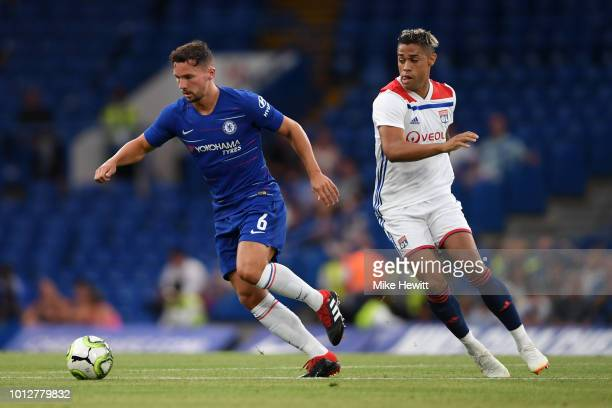 Danny Drinkwater of Chelsea and Mariano Diaz of Lyon in action during the preseason friendly match between Chelsea and Lyon at Stamford Bridge on...