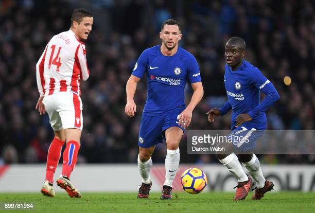Danny Drinkwater of Chelsea and N'Golo Kante of Chelsea in action during the Premier League match between Chelsea and Stoke City at Stamford Bridge...