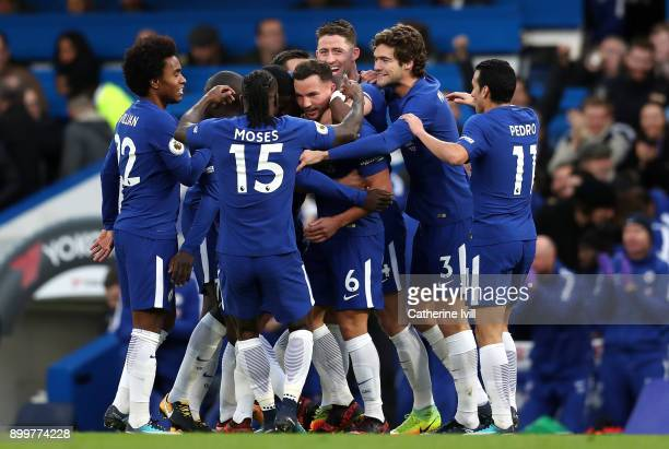 Danny Drinkwater of Chelsea celebrates scoring his team's second goal with team mates during the Premier League match between Chelsea and Stoke City...