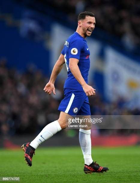 Danny Drinkwater of Chelsea celebrates scoring his team's second goal during the Premier League match between Chelsea and Stoke City at Stamford...