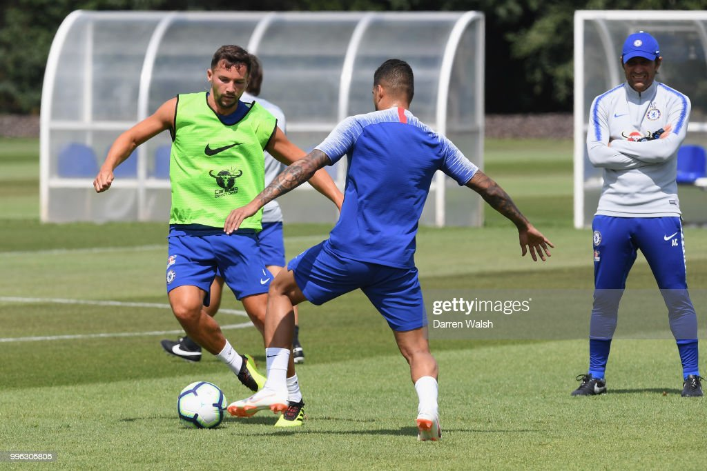 Danny Drinkwater of Chelsea during a training session at Chelsea Training Ground on July 11, 2018 in Cobham, England.