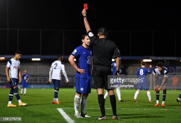 Danny Drinkwater of Chelsea gets a red card during the Premier League 2 match between Chelsea and Tottenham Hotspur at Kingsmeadow on December 14,...