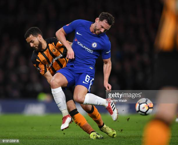 Danny Drinkwater of Chelsea is tackled by Kevin Stewart of Hull City during the Emirates FA Cup Fifth Round match between Chelsea and Hull City at...