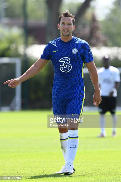 Danny Drinkwater of Chelsea looks on during a Pre-Season Friendly between Chelsea and Peterborough United at Chelsea Training Ground on July 17, 2021...