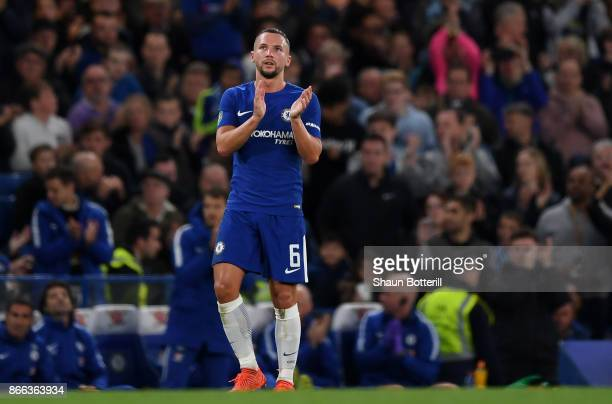 Danny Drinkwater of Chelsea reacts during the Carabao Cup Fourth Round match between Chelsea and Everton at Stamford Bridge on October 25 2017 in...