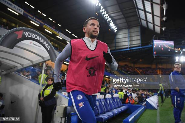 Danny Drinkwater of Chelsea runs onto the pitch for the warm up prior to the Carabao Cup QuarterFinal match between Chelsea and AFC Bournemouth at...