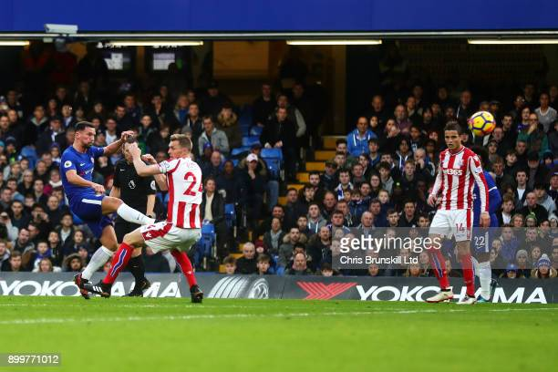 Danny Drinkwater of Chelsea scores his side's second goal during the Premier League match between Chelsea and Stoke City at Stamford Bridge on...