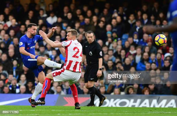 Danny Drinkwater of Chelsea scores his sides second goal during the Premier League match between Chelsea and Stoke City at Stamford Bridge on...