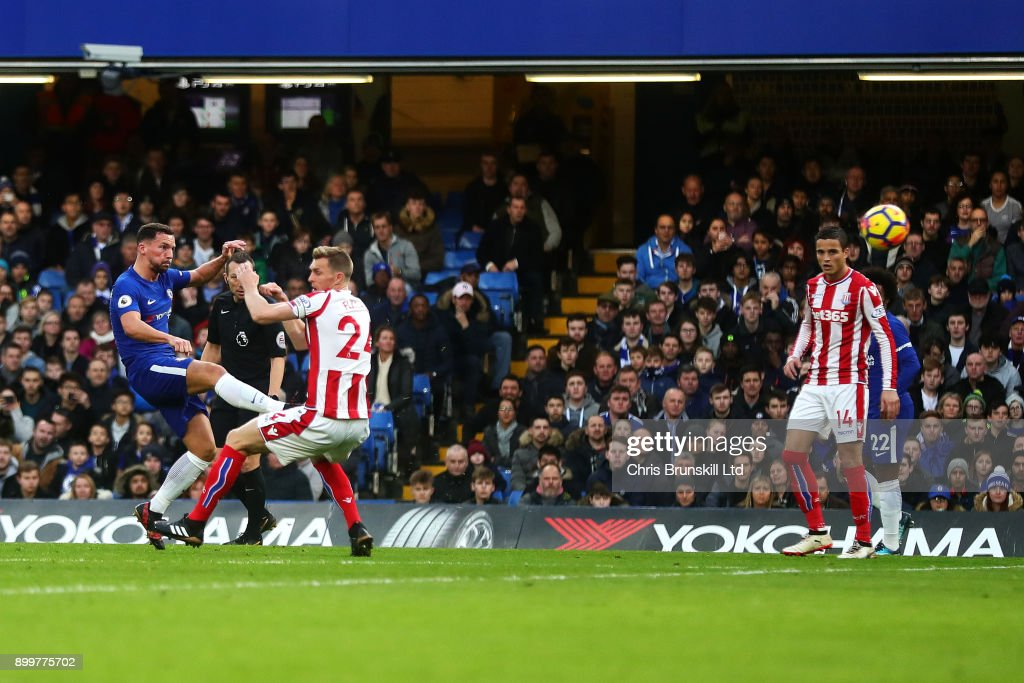 Danny Drinkwater of Chelsea scores his side's second goal during the Premier League match between Chelsea and Stoke City at Stamford Bridge on December 30, 2017 in London, England.