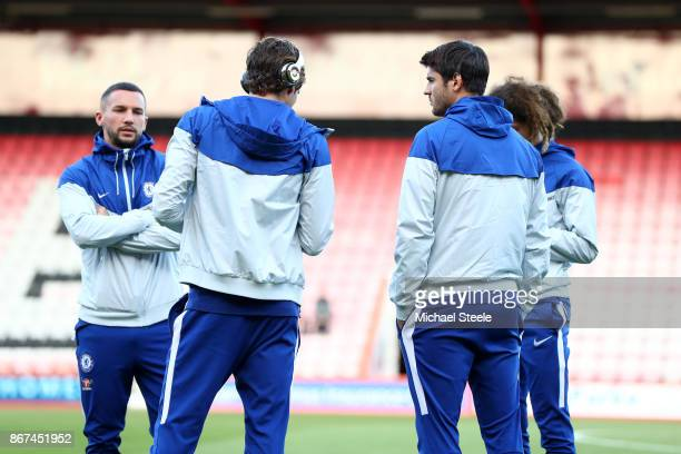 Danny Drinkwater of Chelsea takes a look around the pitch prior to the Premier League match between AFC Bournemouth and Chelsea at Vitality Stadium...