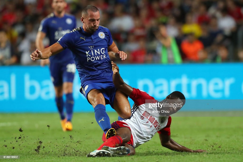 Danny Drinkwater of Leiceister City holds off Hal Robson-Kanu of West Bromwich Albion during the Premier League Asia Trophy match between Leicester City and West Bromwich Albion at Hong Kong Stadium on July 19, 2017 in Hong Kong, Hong Kong.