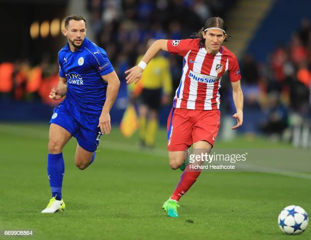 Danny Drinkwater of Leicester City and Filipe Luis of Atletico Madrid battle for possession during the UEFA Champions League Quarter Final second leg...