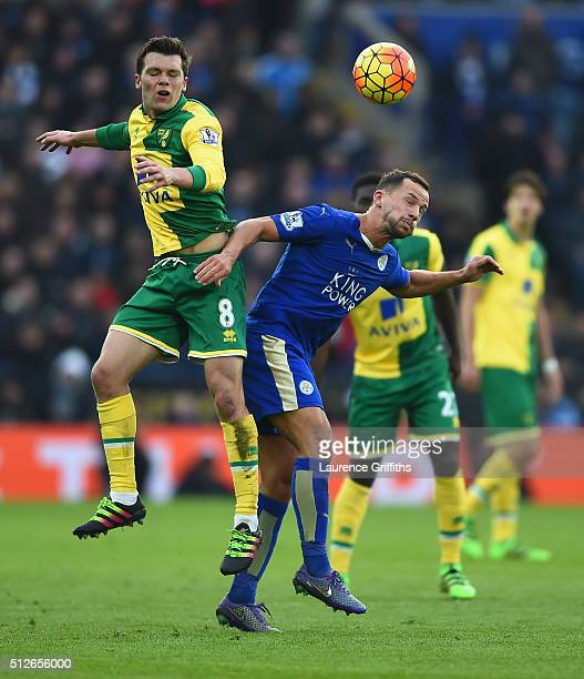 Danny Drinkwater of Leicester City battles with Jonny Howson of Norwich City during the Barclays Premier League match between Leicester City and...