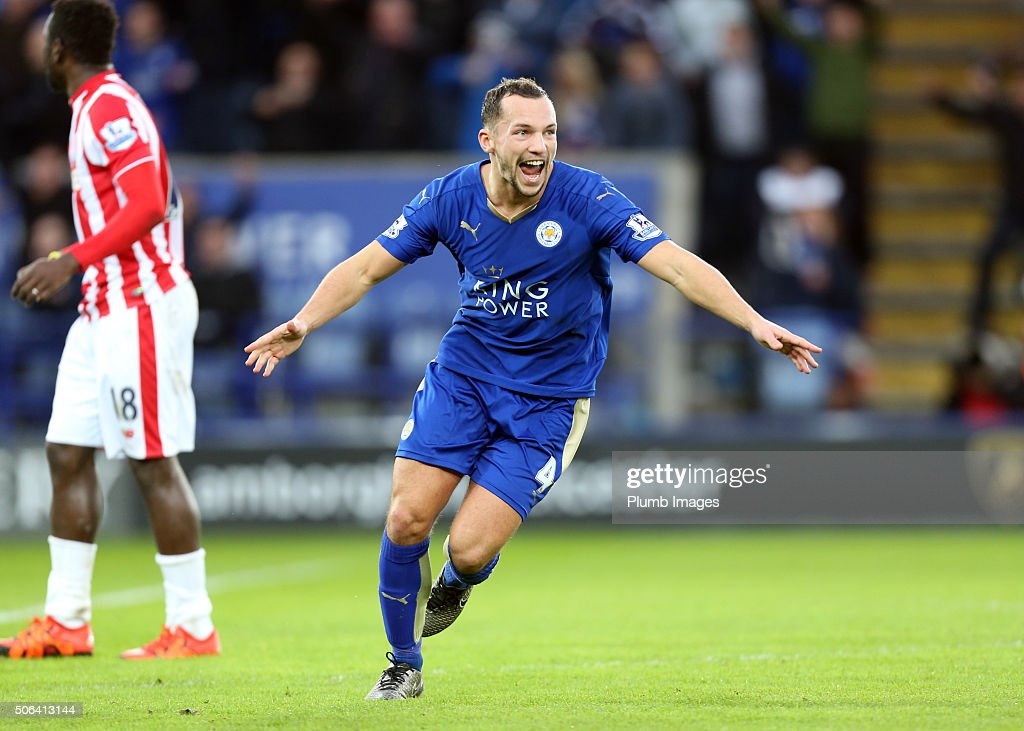 Danny Drinkwater of Leicester City celebrates after scoring to make it 1-0 during the Barclays Premier League match between Leicester City and Stoke City at the King Power Stadium on January 23 , 2016 in Leicester, United Kingdom.