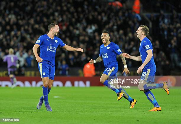 Danny Drinkwater of Leicester City celebrates after scoring to make it 11 during the Barclays Premier League match between Leicester City and West...