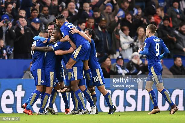 Danny Drinkwater of Leicester City celebrates scoring his team's first goal with his team mates during the Barclays Premier League match between...