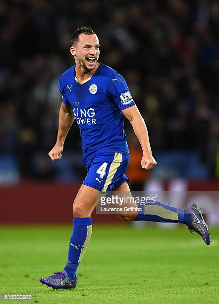 Danny Drinkwater of Leicester City celebrates scoring his team's first goal during the Barclays Premier League match between Leicester City and West...