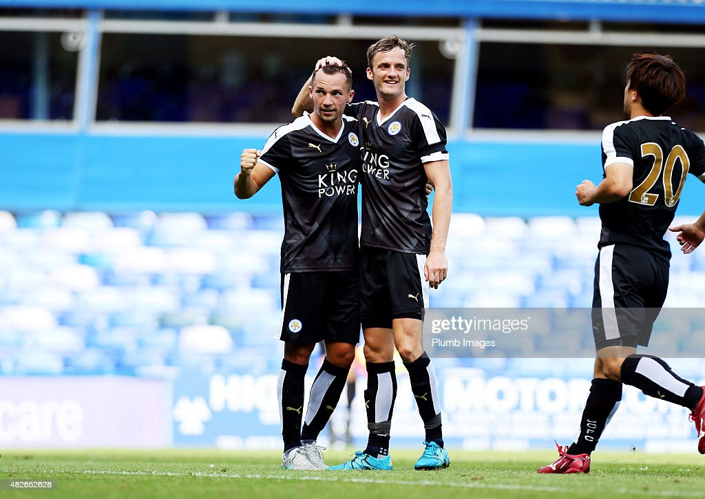 Danny Drinkwater of Leicester City celebrates with Andy King of Leicester City after scoring to make it 2-2 during the pre-season friendly between Birmingham City and Leicester City at St Andrews (stadium) on August 1, 2015 in Birmingham, England.