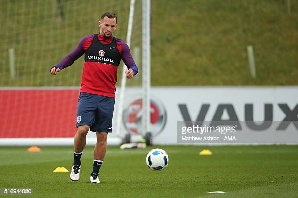 Danny Drinkwater of Leicester City controls the ball during the England training session at St Georges Park on March 22 2016 in BurtonuponTrent...