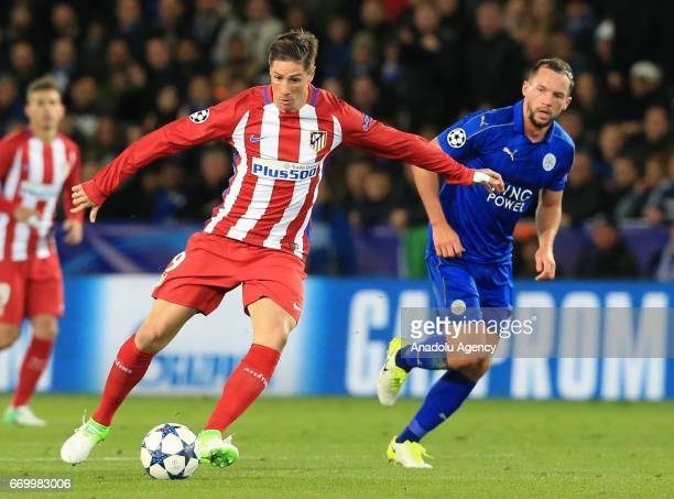 Danny Drinkwater of Leicester City FC in action against Fernando Torres of Atletico Madrid during the Champions League Quarter Final second leg...