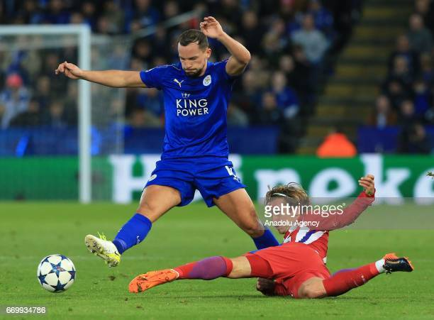 Danny Drinkwater of Leicester City in action against Antoine Griezmann of Atletico Madrid during Champions League Quarter Final second leg soccer...