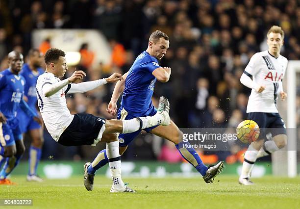 Danny Drinkwater of Leicester City in action with Dele Alli of Tottenham Hotspur during the Premier League match between Tottenham Hotspur and...