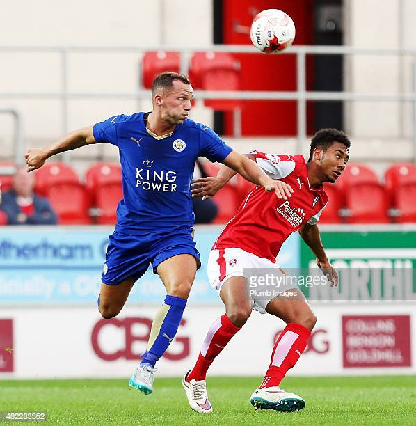 Danny Drinkwater of Leicester City in action with Grant Ward of Rotherham United during the preseason friendly between Rotherham and Leicester City...