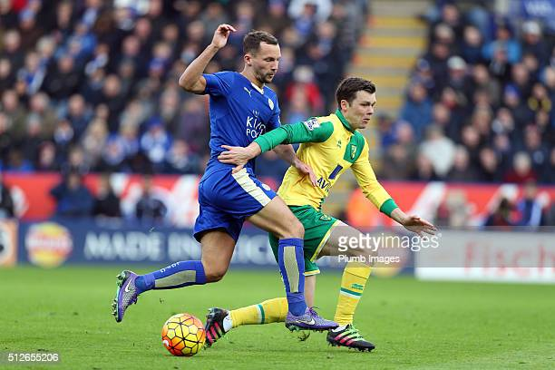 Danny Drinkwater of Leicester City in action with Jonny Howson of Norwich City during the Barclays Premier League match between Leicester City and...