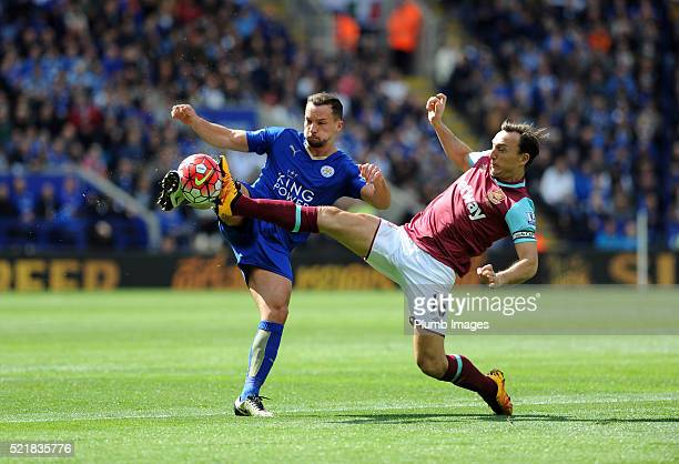 Danny Drinkwater of Leicester City in action with Mark Noble of West Ham during the Barclays Premier League match between Leicester City and West Ham...